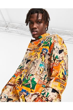 ASOS 90s oversized shirt in vintage inspired sports postcard print