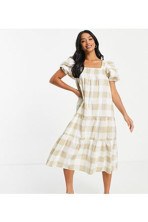 Influence Petite Square neck tiered midi dress in beige oversized gingham-Neutral