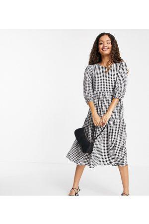 Urban Threads Petite Tiered midi smock dress in gingham-Black
