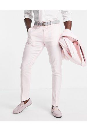 ASOS Skinny wedding suit pants in cotton linen