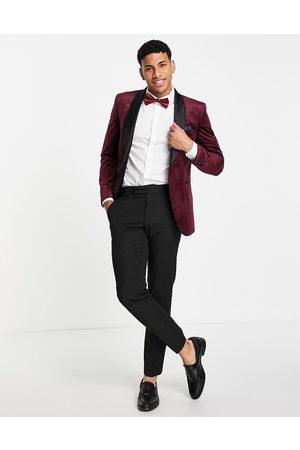 Burton Burton velvet blazer in burgundy