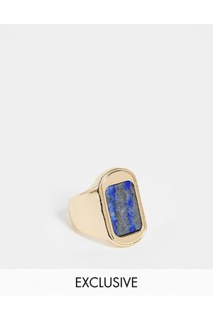 Reclaimed Vintage Inspired signet ring with blue stone in tone