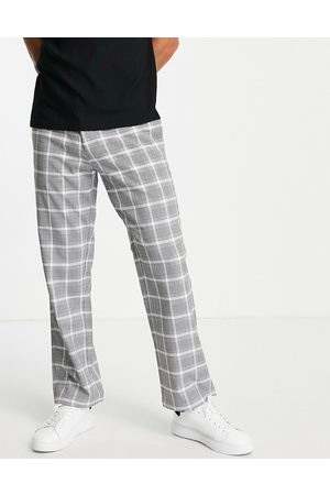 Topman Wide leg check pants in grey and white