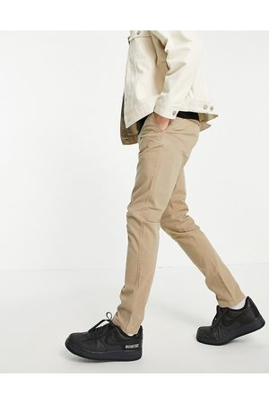 SELECTED Skinny fit stretch chinos in sand with organic cotton-Neutral