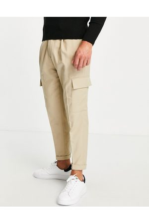 Topman Tapered twill cargo pants in -Neutral