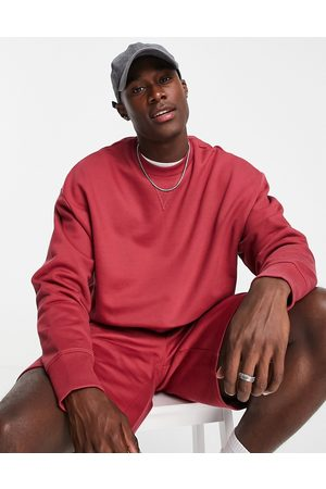 ASOS Co-ord heavyweight oversized sweatshirt in washed red