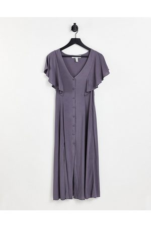 Liquorish Short sleeve midi dress in grey