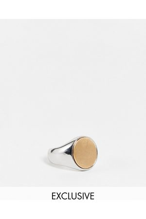Reclaimed Inspired brushed signet ring in silver
