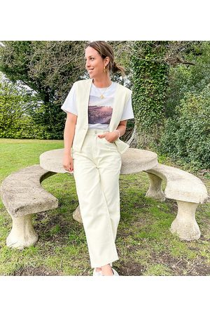 Labelrail X Collyer Twins relaxed waistcoat in denim co-ord-White
