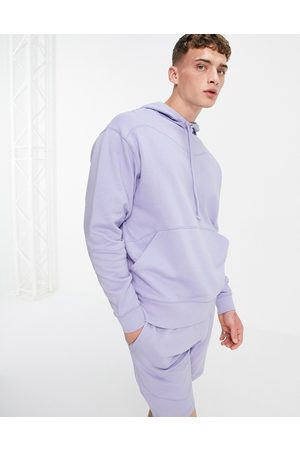 ASOS Co-ord oversized hoodie with stitch detail in lilac-Purple