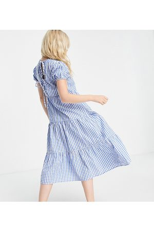 Influence Petite Midi dress with tie back in blue gingham
