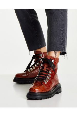 ASOS Adrift chunky lace up hiker boots in -Brown
