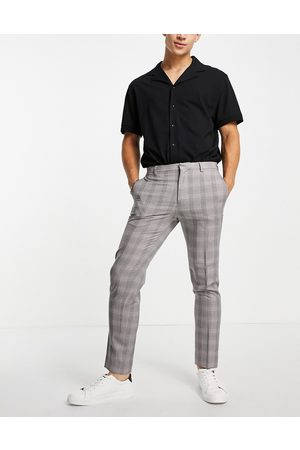 Burton Burton skinny fit burgundy check suit pants in
