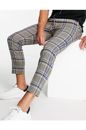 Topman Skinny check pants in and stone