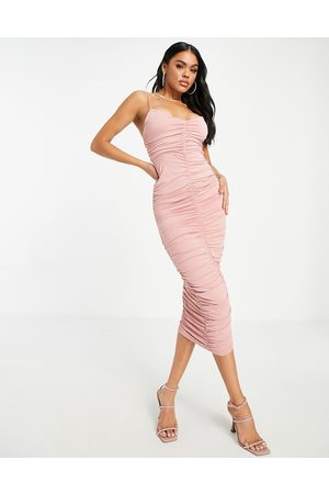 ASOS Cami strappy midi dress with ruched detail in -Pink