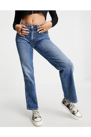 Pepe Jeans Mid-rise flare leg ankle grazer jeans in mid rinse blue