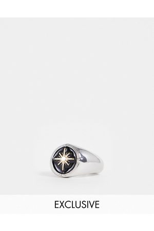 Reclaimed Inspired scenester signet ring with black star in silver