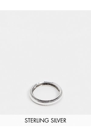 ASOS Men Rings - Sterling band ring with textured edge in burnished