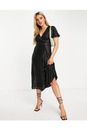 Whistles Sequin midi wrap dress in