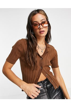 Object Amira knitted polo top in brown