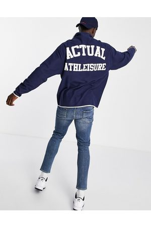 ASOS Oversized polar fleece sweatshirt with popper fastening with chest and back print in