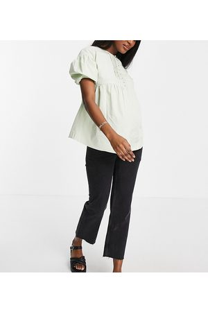 Influence Maternity Women Blouses - Button-front puff sleeve blouse in