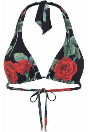 Dolce & Gabbana Rose-print halterneck bikini top