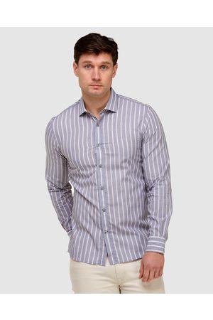 Brooksfield Vertical Stripe Slim Fit Dress Shirt - Shirts & Polos (Navy) Vertical Stripe Slim Fit Dress Shirt