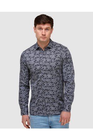 Brooksfield Abstract Print Slim Fit Dress Shirt - Shirts & Polos (Navy) Abstract Print Slim Fit Dress Shirt