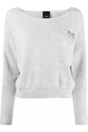 Pinko Women Sweaters - Embroidered-logo knitted jumper