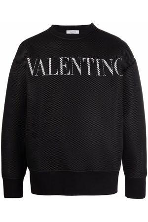 Valentino Men Sweatshirts - Logo-print mesh sweatshirt