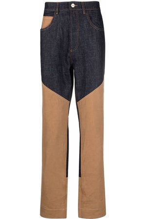Wales Bonner Men Straight - Two-tone panel trousers