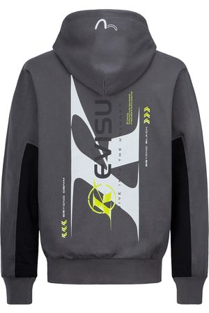 Evisu Color-Block Logo Print Hooded Sweatshirt