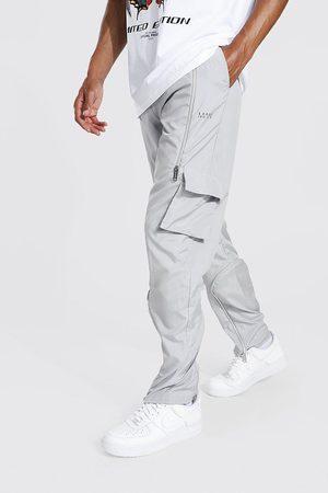 Boohoo Mens Ecru Tall Straight Leg Cargo Trouser With Zips