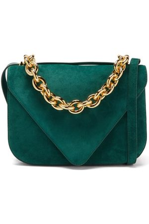Bottega Veneta Mount Medium Suede Shoulder Bag - Womens - Dark