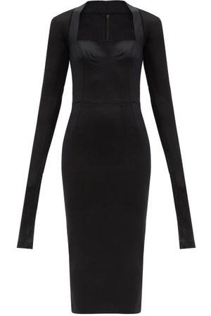 Dolce & Gabbana Square-neck Crepe And Mesh Midi Dress - Womens