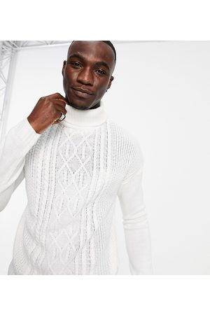 Another Influence Men Cardigans - Tall funnel neck cable jumper in