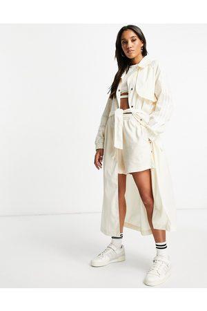adidas Originals Women Trench Coats - Adicolor trench coat jacket in oatmeal-Neutral