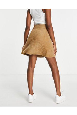 VILA Women Mini Skirts - Fluffy mini skirt co-ord in tan-Brown