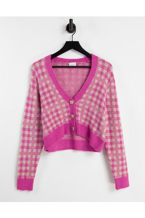 Vila Women Cardigans - Knitted cardigan co-ord in check