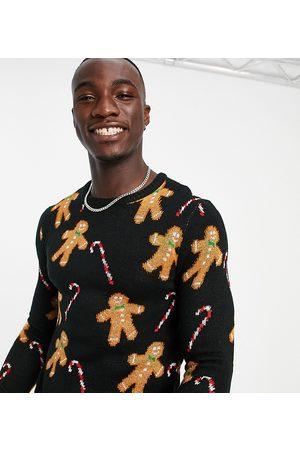 Another Influence Men Sweaters - Tall festive gingerbread print jumper in