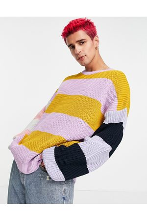 ASOS Men Sweaters - Oversized striped jumper in fisherman rib