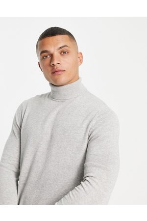 Only & Sons Lightweight cotton roll neck jumper in light grey marl
