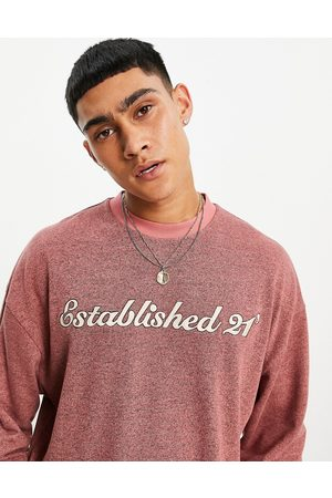 ASOS DESIGN Men Long Sleeve - Oversized long sleeve t-shirt in brushed marl with text print
