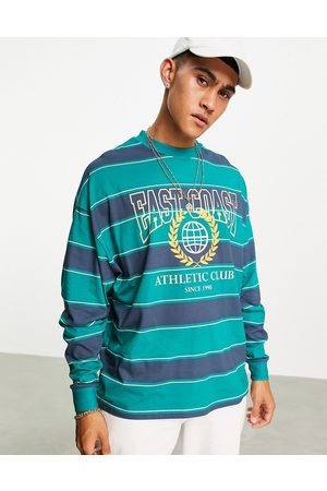 ASOS DESIGN Men Long Sleeve - Oversized long sleeve t-shirt in & navy with Florida front print-Multi