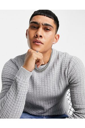 ASOS DESIGN Muscle fit waffle texture jumper in