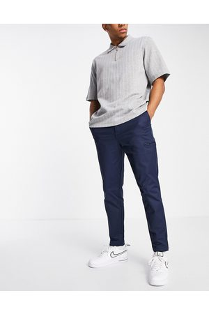 Selected Homme Men Chinos - Nylon pants in slim tapered navy