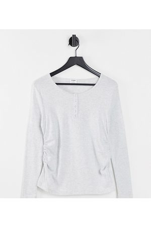 Cotton:On Maternity Women Tops - Cotton: On Maternity basic Henley long sleeve top in grey