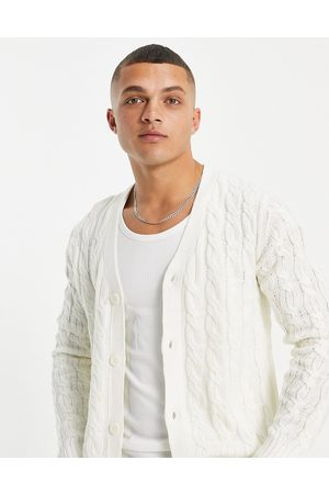Another Influence Men Cardigans - V neck cable knit cardigan in white