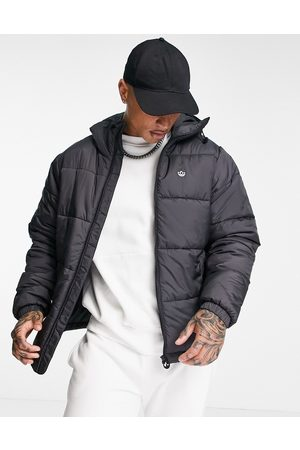 adidas Originals 3 stripe padded jacket with hood in